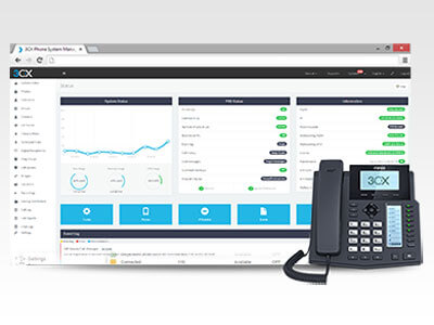 3CX dashboard and desk phone